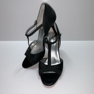Ellen Tracy Black Satin Open-Toes Heels Size 7.5